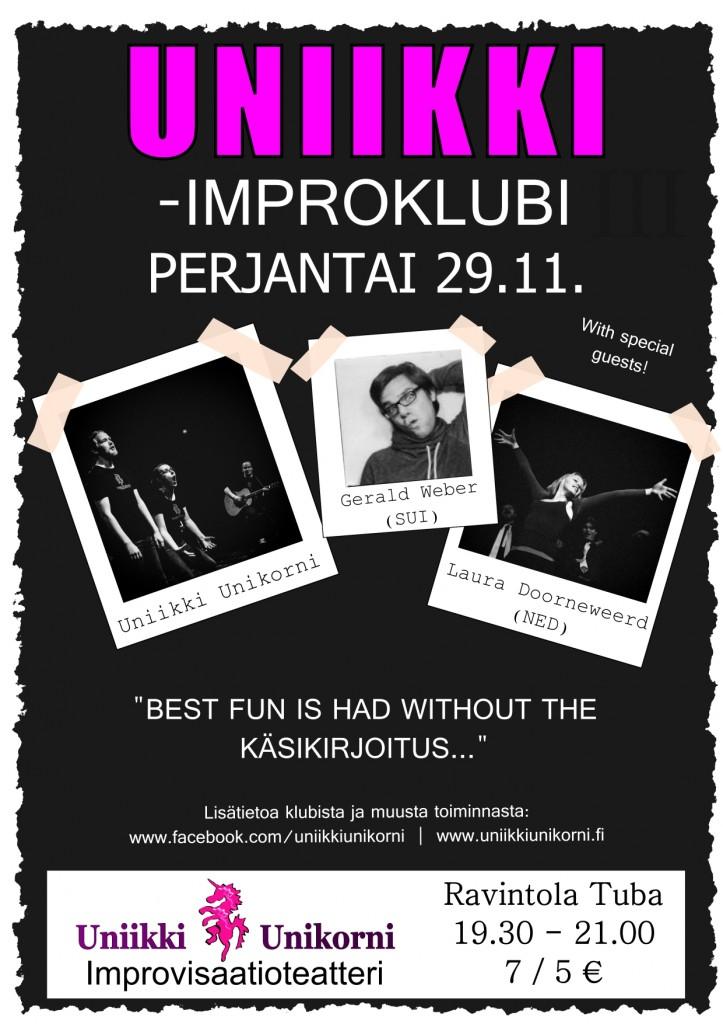 Uniikki-improklubi -juliste